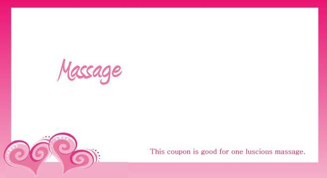 Coupon for one free massage