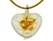 Yellow peony glass heart pendant