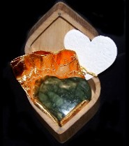 Dark green carved heart