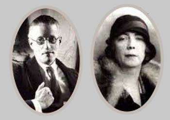 Black and white photos of James and Nora Joyce
