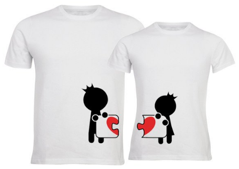 Couples T-Shirts - Heart Puzzle Fit