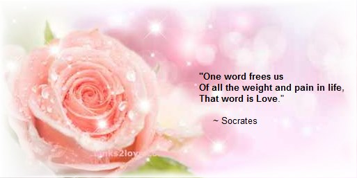 One word frees us Of all the weight and pain in life, That word is Love