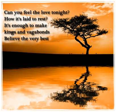 Can You Feel the Love Tonight - Elton John Love Song Lyrics ...