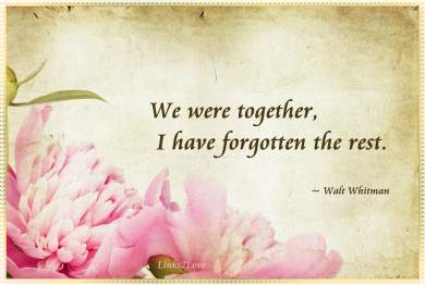 We were together, I have forgotten the rest - Walt Whitman