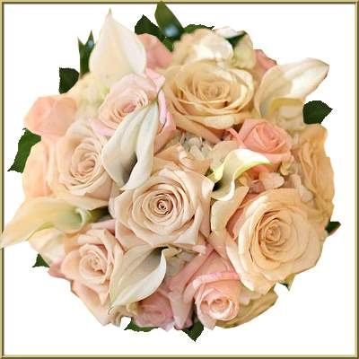 Peach Rose And White Lily Bridal Bouquet