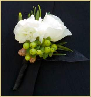 Grooms and groomsmen boutonnieres flower wedding photos green berries white flowers mightylinksfo Image collections