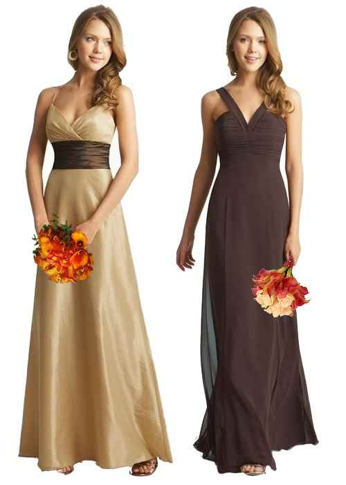 Brown Fall Bridal Dresses Beige and brown bridesmaid