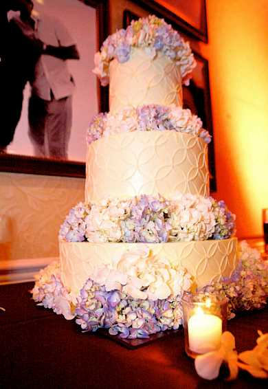 Wedding Cake Decorated With Fresh Hydrangeas