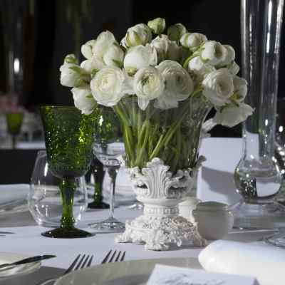 Green And White Wedding Table Setting