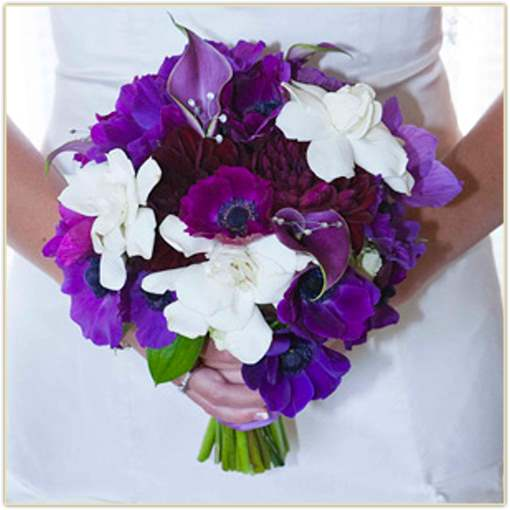 lavender wedding flowers and white bridal bouquet
