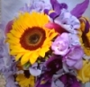 Lavendar and yellow sunflower bouquets