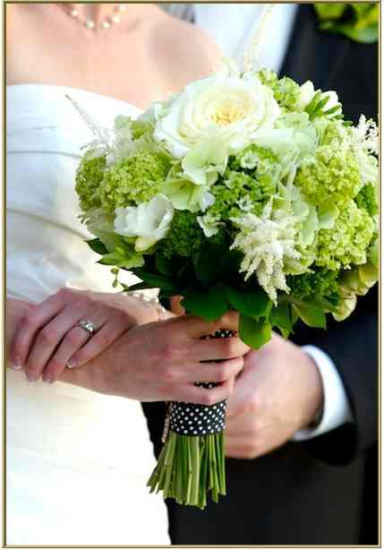 Green White And Black Wedding Bouquets