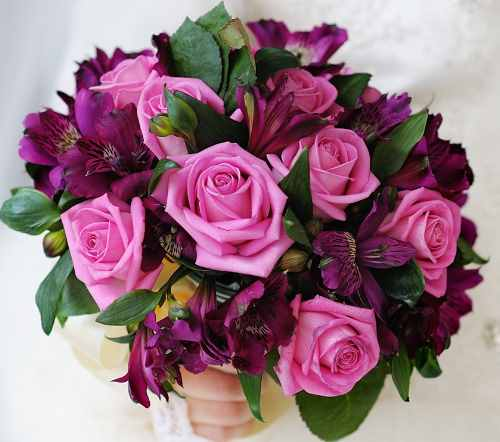 Pink And Magenta Wedding Bouquet